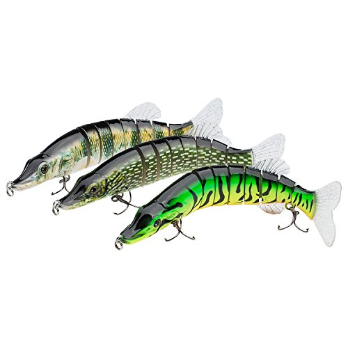 Bassdash swimpike Multi Jointed Swimbaits Bass Kunstköder Hard Body Weichen Schwimmflossen 20,3 cm 2-1/60, 4 Farben, New Style, Pack of 3 Colors (FNP) -
