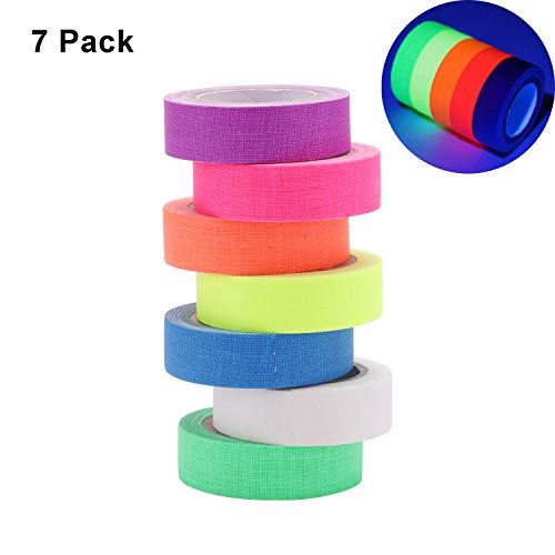 DesignerBox Neonfarbenes Klebeband für UV-Schwarzlicht-Reaktivfolie, Neon-Gaffer-Tape, super hell, leuchtet Party-Tape für Glow Party Supplies (7 Farben) (15 mm x 5 m)