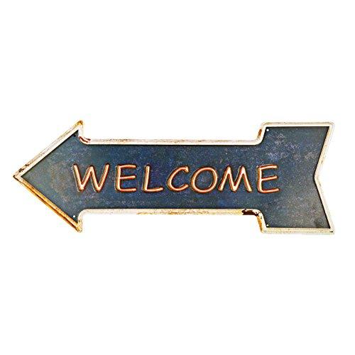 yosee Welcome Metal Tin Signs con rústico Retro Flecha decorativa Canta Para Cafe Pub tamaño 16.9x 6pulgadas