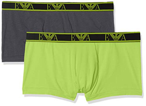 Emporio Armani Underwear Herren 2 Pack Trunk Multipack Monogram Badehose, Grau (Antracite/Lime 23344), Large (Herstellergröße:L) (2er Pack)
