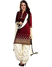 PlatinumCreation Women's Cotton Unstitched Maroon Salwar Suit | Panjabi Dress material Free size