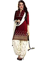 PlatinumCreation Women's Cotton Blend Semi-stitched Maroon Salwar Suit | Panjabi Dress material Free size