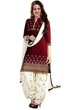 PlatinumCreation Women's Cotton Semi-stitched Maroon Salwar Suit | Panjabi Dress material Free size