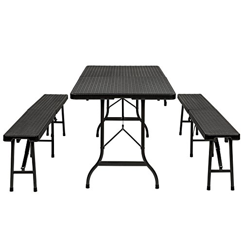 41 E8tWzz8L. SS500  - TecTake Folding Dining Trestle Table and Bench Outdoor Camping Furniture Set (Black | no. 402209)