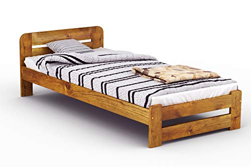 "New Solid Wooden Pine Bed Frame with plywood slats ""ONE"" :(Oak, Single)"