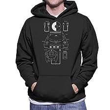 Sega Dreamcast Patent Blueprint Men's Hooded Sweatshirt