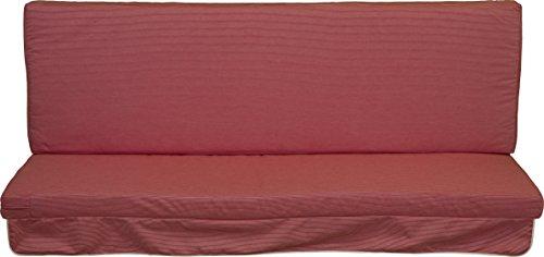 Hollywoodschaukel Comfort Schaukelauflage Kissen 3 Sitzer Streifen rot weiss mit abnehmbarem Bezug