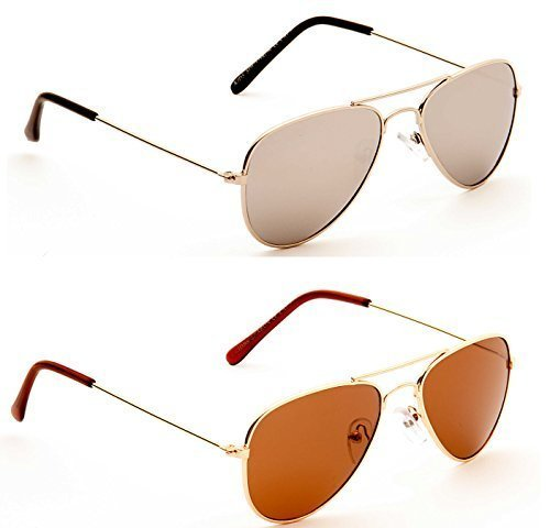 Twin Pack – Kids (Boys / Girls) Aviator Sunglasses 1 x Silver 1 x Gold - Cat 3 Lenses UV400 - Suitable 4-10 Years