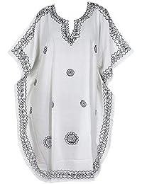 LA LEELA Mujer Kaftan Rayón Túnico Bordado Kimono Estilo Más tamaño Vestido para Loungewear Vacaciones Ropa