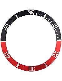 Dilwe Reloj 4 colores con bisel de plástico con inserto de bisel, esfera de repuesto para reloj, accesorios de moda para hombres y mujeres, Black + Red