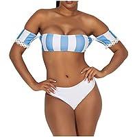 Sylar Bikinis Bandeau Mujer Rayas Conjunto de Bikini Cintura Alta con Relleno Traje de Baño Mujer Dos Piezas Traje de Baño Dividido Tops con Manga Corta Encajes Bañadores