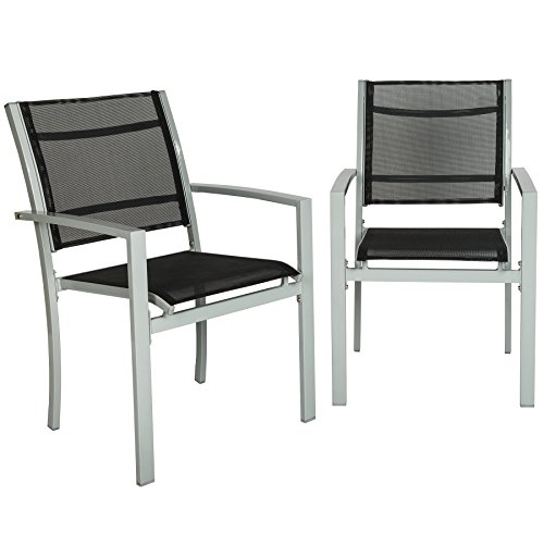 TecTake Set of 2 Metal garden chairs outdoor patio furniture | with armrests - different colours - (Grey | no. 402065)