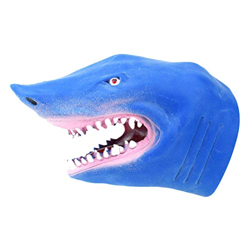YeahiBaby Shark Hand Puppet Realistic Role Play Toy Latex Puppet for Children Adult (Blue)