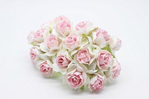 50 Pink-wei? Mulberry Paper Rose Blume Hochzeit Craft 3-3,5 cm.