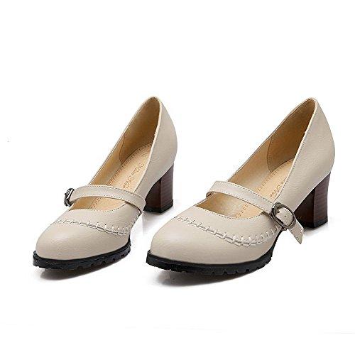 Voguezone009 Femme Bout Rond Talon Moyen Simili-talon Ballerine Flats Beige