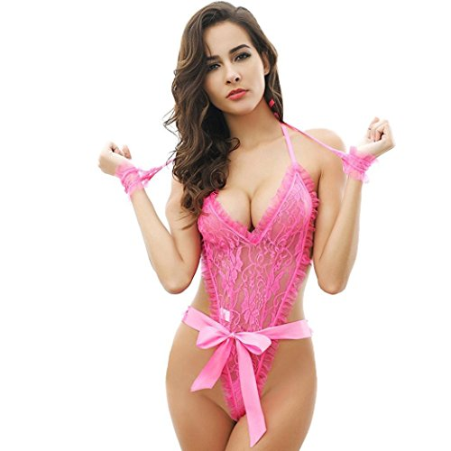Fat.chot Sexy Lingerie, Women Girls Sexy Lingerie Teddy Deep V Halter Lace Bodysuit Fun Pajamas Sexy Wild SM Temptation Three Point Harness Perspective Underwear With Handcuff (Pink, Free Size)