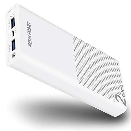 Externe Mobile Power Adapter (20.000mAh Power Bank Powerbank mobiles Ladegerät Schnellladung QC3.0 18W Externe Akkupacks für Mobiltelefone Smartphones kompatibel mit iPhone X/8/7/6, iPad, Samsung S7/S8/S9/Plus, MacBook, Weiß)