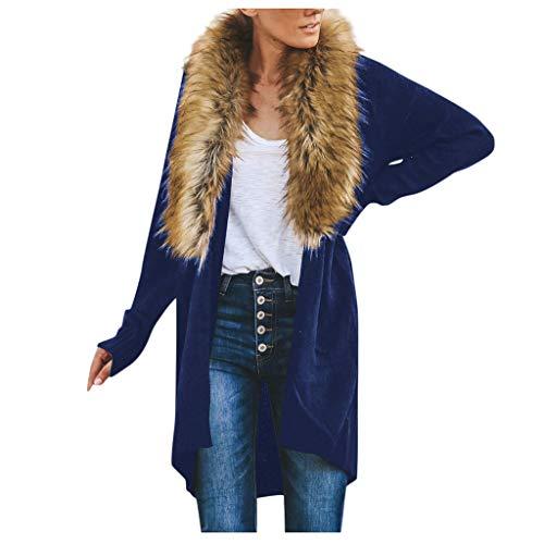 BHYDRY Frauen-tägliche beiläufige Knit-Lange Hülsen-Oberseiten-Wolljacken-Strickjacken lösen Oberbekleidung-Mantel -