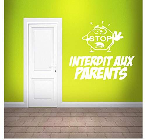 La camera da letto decora l'adesivo da parete in vinile francese Interdit aux genitori Decalcomanie murali rimovibili Carta da parati per la camera dei bambini Porta decorazione della casa di vetro