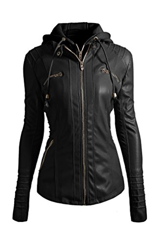 Ghope Femme Fille Hooded Veste en cuir pour femmes manteaux en cuir Blouson Biker Jacket Motard Courte a capuche Chaud Fermeture Hoodie Sweater Sweatshirt GHWM15 Noir