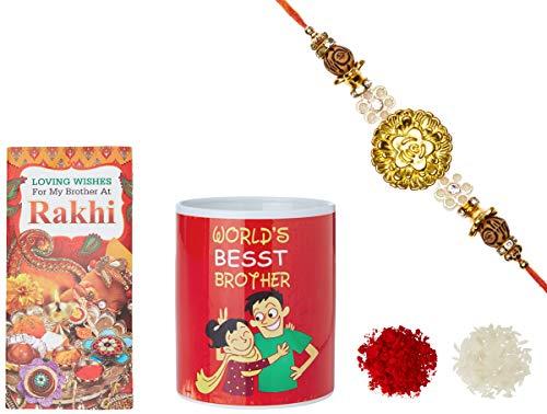 Aheli Golden Flower Rakhi for Men with Mug & Greeting Card and Roli Chawal Tilak (Gold) (RCM5)