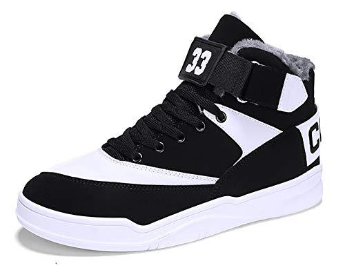 Imagen de muou zapatos hombre sneaker deportivos hombres zapatos casuales con cordones zapatillas deporte hombres de moda 39 eu, blanco negro