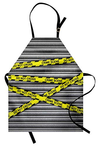 ABAKUHAUS Polizei Kochschürze, Crime Scene Investigation übergeben Keine gelben Wraps Zitate Kunstdruck, Farbfest Höhenverstellbar Waschbar Klarer Digitaldruck, Gelb Schwarz Grau -