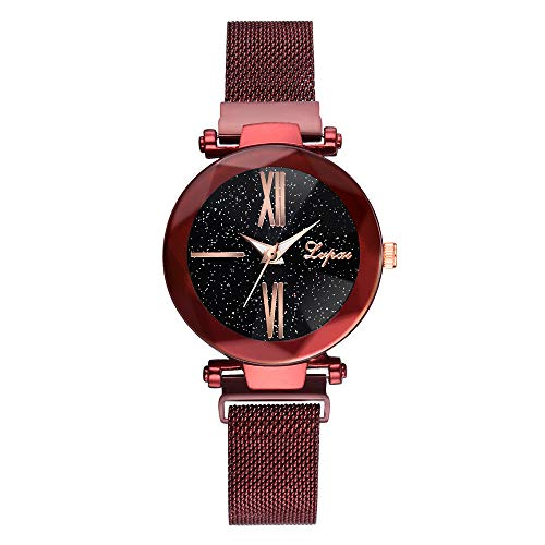 Luckhome Damen Uhr Analog Quarz Mode Sternenhimmel Edelstahl Mesh Gürtel Lässige Analoge Mit Armband Zu Sehen(rot)