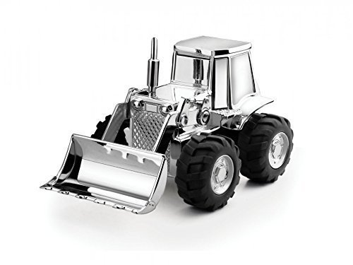 Brillibrum Design Sparbüchse Traktor mit Gravur personalisiert Sparschwein Bagger versilbert anlaufgeschützt Geschenk Idee für Jungen & Männer Geldgeschenk mit Gravur