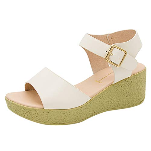 Plain Wellies (KonJin Women's Wedge Sandals Fashion Casual Buckle Strap Open Toe Wedge Thick Platforms Shoes Ankle Strap Comfy Buckle Breathable Shoes)