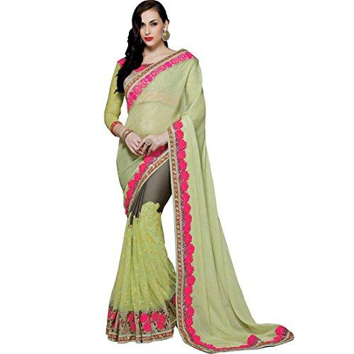 Vasu Saree Swanky Lime Green Net Designer Bridal Saree  available at amazon for Rs.6080