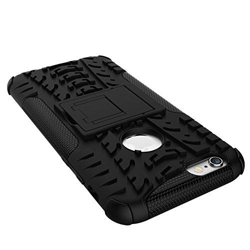 """iPhone 6 6S Hülle Hybrid Dual Heavy Duty stoßfest Rüstung Tasche Schale Schutzhülle Case Cover Für das Apple iphone 6 / 6S 4.7"""" Handy mit Selbst Ständer Grün Von GIM Schwarz"""