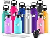 KollyKolla Vakuum-Isolierte Edelstahl Trinkflasche, 750ml BPA-frei Wasserflasche mit Filter, Thermosflasche für Kinder, Mädchen, Schule, Kindergarten, Sport, Wandern, Camping, Outdoor, Edelstahl