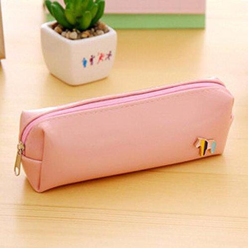 Mieoson Leder-Bleistift-Tasche, süße Pony Briefpapier Aufbewahrungsbox einfache Federtasche Student Supplies_Pink by