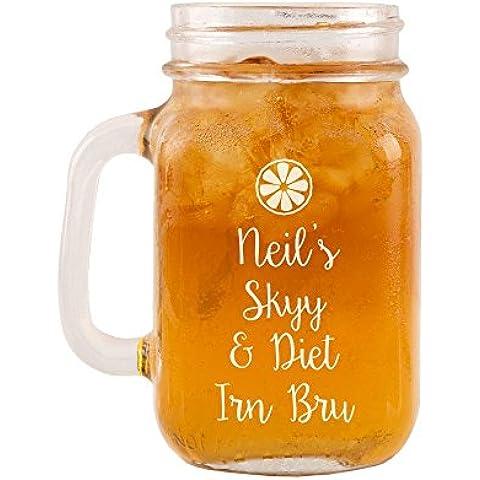 Personalizzato Skyy e dieta IRN Bru vetro Mason Jar, Vodka regali a tema per lui o lei