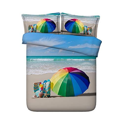 G'z Ocean Bedding Strand-Bettbezug 3-teiliges Bettwäscheset mit Kissen Shams Coastal Bettüberwurf Tagesdecke Seashells Ocean Wave Tröster Cover Seascape (Farbe : Beach Duvet, größe : Cal King) (Ocean Tröster Set Königin)