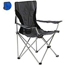 SONLEX Campingstuhl faltbar Angelstuhl klappbar blau grau bis 150 kg belastbar Faltstuhl mit Armlehne Getr/änkehalter Tragetasche Metallgestell Stahlrohr