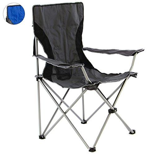 SONLEX Campingstuhl faltbar Angelstuhl klappbar blau grau bis 150 kg belastbar Faltstuhl mit Armlehne Getränkehalter Tragetasche Metallgestell Stahlrohr (grau)