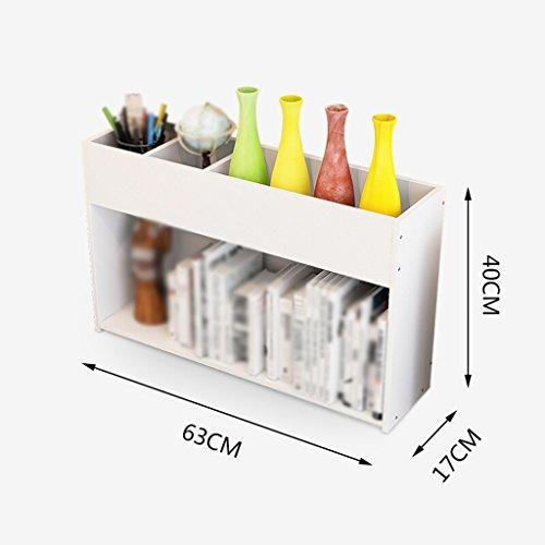 Librería Libro Stand 63 * 17 * 40 Cm Estante de Escritorio Estante de almacenamiento Blanco
