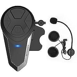 Kit Main Libre Moto, ENCHICAS 1x BT-S3 Intercom Moto Bluetooth Oreillette 1000m Helmet Headset Avec la Radio