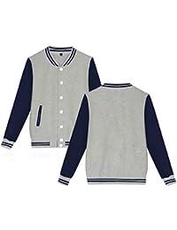 kigins Unisex Baseball Jacke Sport Knopfleiste Stehkragen Langarm Damen  Herren College Jacke Baseball Uniform f6a15d0d06
