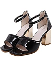 SHINIK Mujeres Ankle Strap Bombas Verano Nueva Sandalias gruesas con metal hueco de tacón alto zapatos cuadrados Zapatos de tacón abierto zapatos de corte rosa rojo negro , black , 36