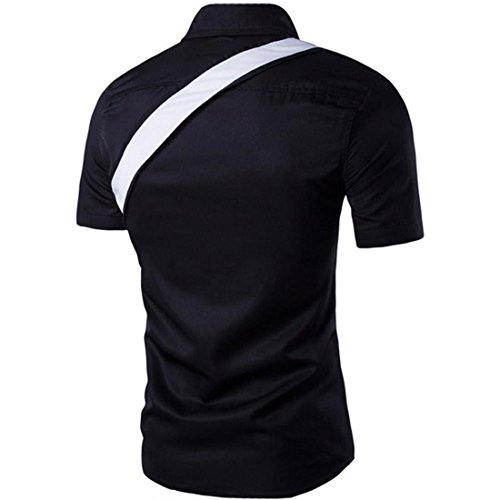 Jeansian Hommes Mode Shirt Chemises Casual Manches Courtes Men's Slim Fit Summer Fashion Shirts Tops 84F3 Black