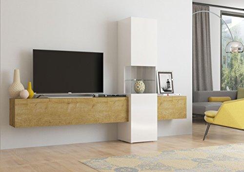 Wohnwand   Mediawand   Wohnzimmer-Schrank   Fernseh-Schrank   TV Lowboard   weiß/Eiche hell   Incontro