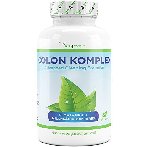 Vit4ever® Colon Komplex - Natürliche Darm Kapseln mit Flohsamenschalen, Milchsäurebakterien (Acidophilus), Glucomannan, Vitamin C, Calcium, Inulin - Hochdosiert - Vegan -