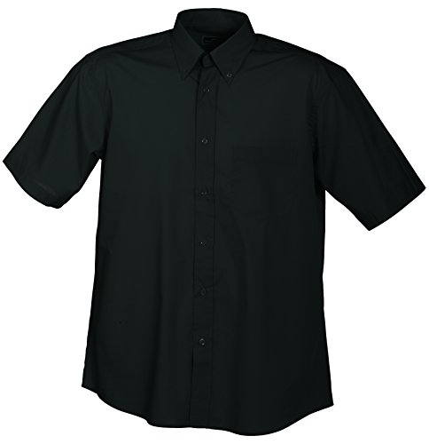 James & Nicholson Herren Sporthemd Men's Promotion Shirt Short-Sleeved, Schwarz (Black), X-Large (Kurz Herren Popeline)