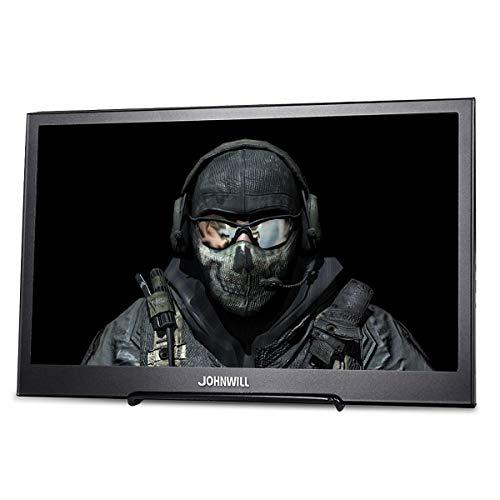 JOHNWILL tragbarer Monitor 13,3 Zoll IPS-Bildschirm Full HD 1920 x 1080 Monitor tragbare ultradünne Schwarze Metallschale Eingebauter Lautsprecher, Kompatibel mit Laptop,Raspberry Pi (Jb Ps3)