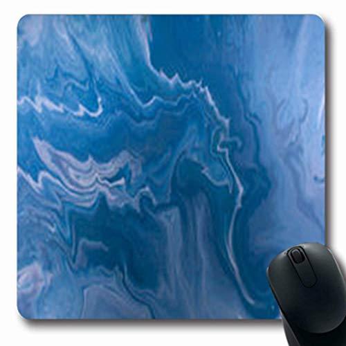 Gsgdae Mousepads Abstrakt marmoriert blau goldene Pailletten gelb grün flüssige Marmor Tinte Muster Achat Aqua Swirl länglich 20,32 x 24,1 cm rechteckig Gaming Mauspad Anti-Rutsch Mauspad -