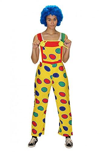 Kostüm Clown Damen - Foxxeo Gelbe Clown Latzhose mit bunten Punkten für Damen Clownhose lustiges Kostüm für Fasching Karneval Motto-Party Größe L-XL