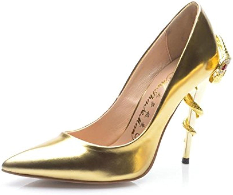 Gut mit Spitzen Metall Leder sexy Schuhe
